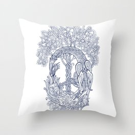 The Phoenix Bird and the Tree of Life Throw Pillow