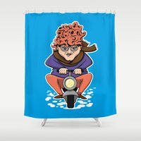 moto Shower Curtains featuring Crazy Moto Grandma by Maryanski