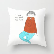 too much Throw Pillow