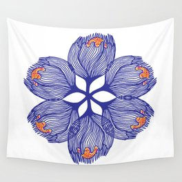 Blue spiral flower Wall Tapestry