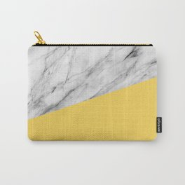 Marble and Primrose Yellow Color Carry-All Pouch
