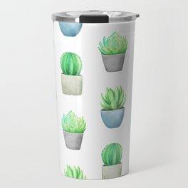Succulent and Cactus Garden Pots Pattern Travel Mug