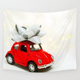 Red Car Christmas Present (Color) Wall Tapestry