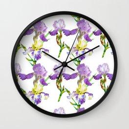 Irises Neck Gator Purple Iris Wall Clock