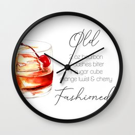 Cocktail Recipe. Old Fashioned. Wall Clock
