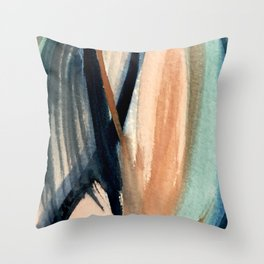 Waves - a pretty minimal watercolor abstract in blues, pinks, and browns Throw Pillow