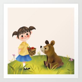 Girl Bear And The Basket Art Print
