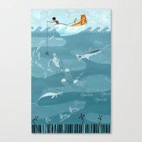 fishing Canvas Prints featuring Fishing by Erik Krenz
