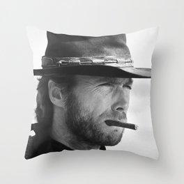 Clint Eastwood Smoking a Cigar Retro Vintage Art Throw Pillow