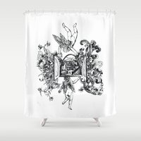angels Shower Curtains featuring Angels by LinnaDesign