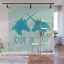 Ride or Die x Unicorns x Turquoise Wall Mural