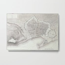 Vintage Map of Barcelona Spain (1806) Metal Print