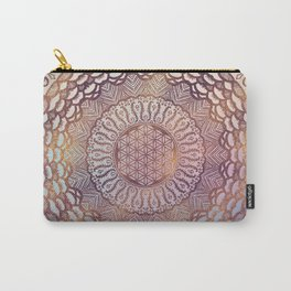 Flower of life in mandala - gentle glitter on pastel Carry-All Pouch