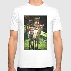 Tis The Season - Reindeer MEDIUM White Mens Fitted Tee