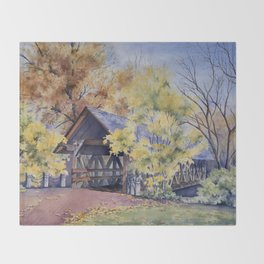 Naperville Covered Bridge in Fall Throw Blanket