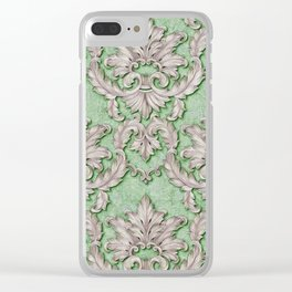 Pink Green Paisley Floral Clear iPhone Case