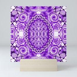 Purple Zentangle Tile Doodle Design Mini Art Print