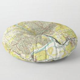 Vintage Map of Asheville North Carolina (1943) Floor Pillow