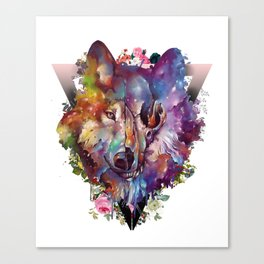 floral wolf skull Canvas Print