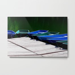 Pleasure Boats On A Sunny Day In Green And Blue Metal Print