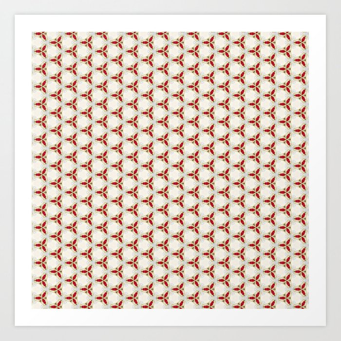 Three red pattern Art Print