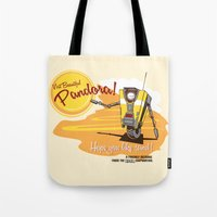 borderlands Tote Bags featuring Visit Pandora! by Andy Hunt