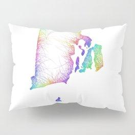 Rainbow Rhode Island map Pillow Sham