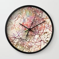 austin Wall Clocks featuring Austin by MapMapMaps.Watercolors