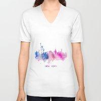 new york skyline V-neck T-shirts featuring New York City Skyline  by jbjart