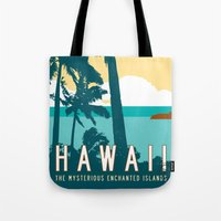travel poster Tote Bags featuring Hawaii Travel Poster by Michael Jon Watt