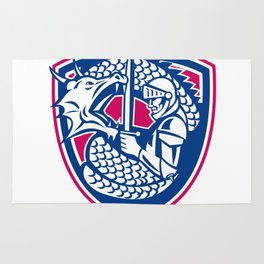 Dragon and Knight Fighting Crest Rug