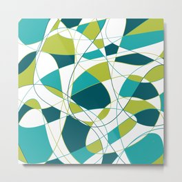 Modern Abstract Retro Green and Teal Art Metal Print