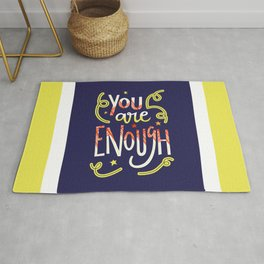 You Are Enough Quote Art - Blue, Orange, White and Green Rug