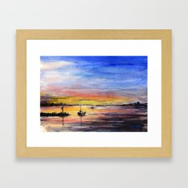 Beautiful Sunset Watercolor Painting Framed Art Print