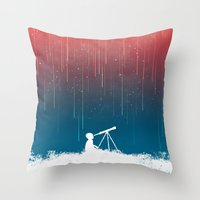 rain Throw Pillows featuring Meteor Rain (light version) by Picomodi