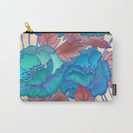 Peonies and Stripes Pattern - Blue, Purple,Yellow Carry-All Pouch