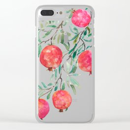 red pomegranate watercolor Clear iPhone Case