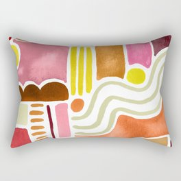 Joyful Warm Watercolor Shapes Rectangular Pillow