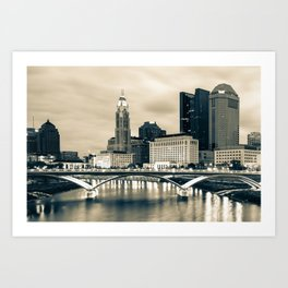 Columbus Ohio and Buckeye City Skyline - Sepia Edition Art Print