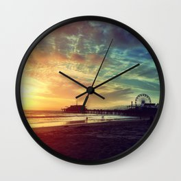 Santa Monica Sunset Wall Clock