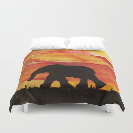 Baby Elephant Sunset Landscape Duvet Cover