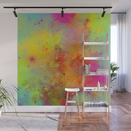 Rainbow Galaxy - Abstract, rainbow coloured space painting Wall Mural