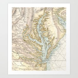 Vintage Map of The Chesapeake Bay(1778) 2 Art Print