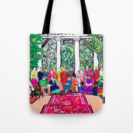 This is not a Party: Brightly colored painting of a group of people in a gigantic greenhouse with rugs and rainbow clothing Tote Bag