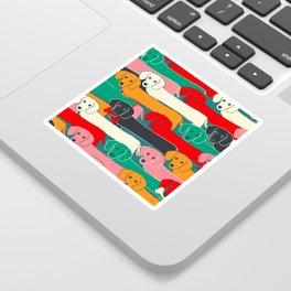 dachshund pattern- happy dogs Sticker