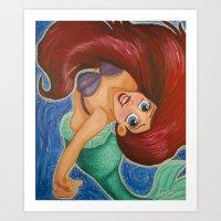 ariel Art Prints featuring Ariel by carotoki art and love