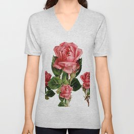 ANTIQUE VINTAGE ART PINK ROSES FLOWERS Unisex V-Neck