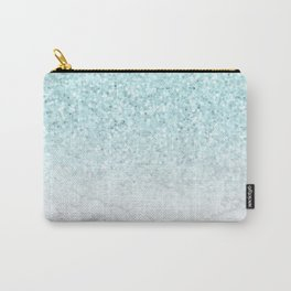 Turquoise Glitter and Marble Carry-All Pouch