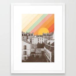 Rainbow Sky Above Paris Framed Art Print