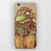 ninja turtle iPhone & iPod Skins featuring zombie ninja turtle by mileshustonart